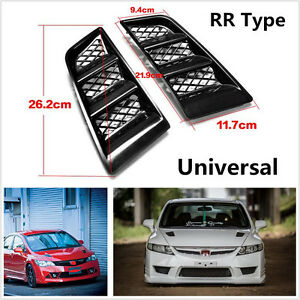 Universal Black Abs Rr Type Hood Vents Scoop Bonnet Air Vents Air Flow Vent Duct Fits 2005 Ford Mustang