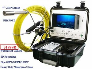 Sewer Drain Pipe 1 Waterproof Inspection Color Camera 65ft Cable Lcd 7 Usb Sd