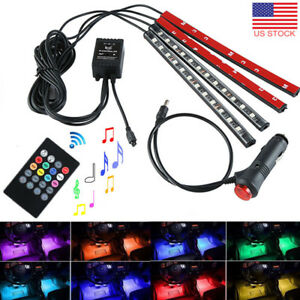 4x 12 Led Car Interior Footwell 8colors Changing Strip Lights Music Ir Control