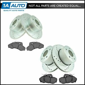 Front Rear Posi Ceramic Brake Pad Performance Drilled Slotted Rotor