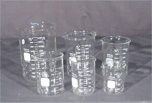 Lot Of 6 Asstd Pyrex 1000 1003 Graduated Beakers 250 400 600 800 1000 2000ml
