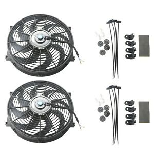 2x 14 Inch Universal Slim Fan Push Pull Electric Radiator Cooling 12v Mount Kit