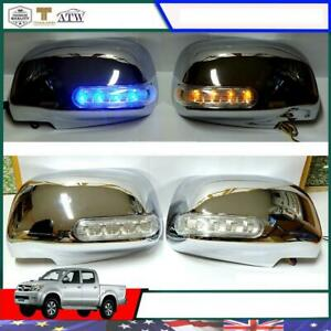 Fit 2005 10 Toyota Hilux Sr5 Mk6 Fortuner L R Chrome Side Mirror Cover With Led
