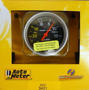 Auto Meter 3401 Sport Comp Vacuum Boost Mechanical Gauge 2 5 8 30 In Hg 20 Psi