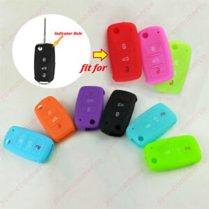 Remote Key Case Fob 3 Button Silicone Cover Holder For Vw Volkswagen Seat Skoda