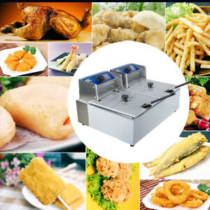 5000w Electric Countertop Deep Fryer Dual Tank Commercial Restaurant 11 Liter
