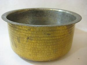 Vintage Hand Hammered Copper Brass Pot Signed 5 Tall X 10 Diameter Rare