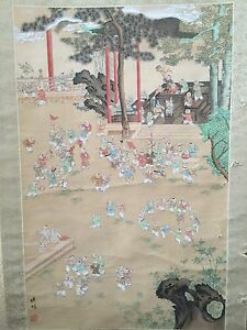 Large Vintage Chinese Wall Hanging Scroll Hand Painted 100 Boys On Silk Signed