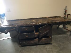 Vintage Hand Made 3 Drawer Double Vise Work Bench
