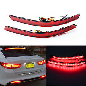 Red Lens Rear Bumper Reflector Led Driving Light Lamps Fit Kia Optima K5 2011 13