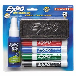 Sanford Expo Dry Erase Set Markers Cleaner Eraser Low Odor Ink Chisel Tip 4pk