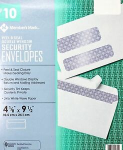 Member Mark 10 Peel Seal Double window Security Envelopes White Wove 24 Lb