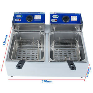 5 5 11l Electric Countertop Deep Fryer Commercial Basket Fry Stainless Steel Lid