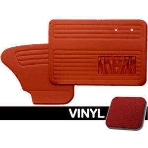 Door Panels Front rear 1965 66 Vw Bug W pockets Both Sides Red Smooth Vinyl