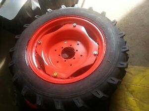 Two 9 5x24 Kubota 8 Ply Farm Tractor Tires W wheels 6 Hole Centers