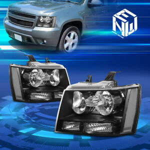 For 07 14 Chevy Tahoe Suburban Black Housing Clear Corner Headlight Replacement
