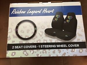 Rainbow Leopard Heart 3 Piece Set 2 Seat Covers 1 Steering Wheel Cover Lot C