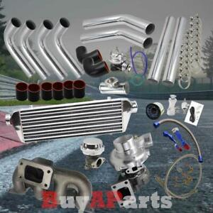 Diy Chrome Intercooler Piping Black Couplers Turbo Kit For 01 05 Civic Sohc D17