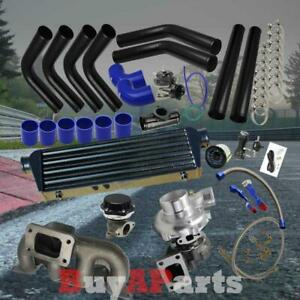 Diy Black Intercooler Piping Blue Couplers Turbo Kit For 01 05 Civic Sohc D17