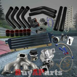 Turbo Turbocharger Cast Manifold Black Kit For Honda Crx Ef Eg Ek Sohc D15 D16