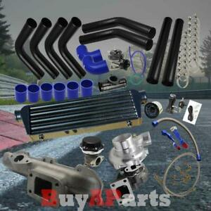 Black Intercooler Piping Blue Couplers Turbo Kit For 1995 1999 Eclipse 420a 2 0l