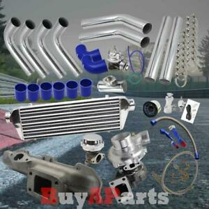 Chrome Intercooler Piping Blue Couplers Turbo Kit For 95 99 Dodge Neon 420a 2 0l