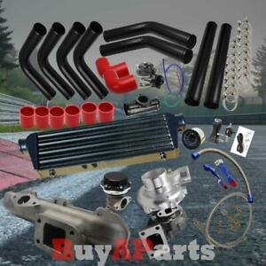 Black Intercooler Piping Red Couplers Turbo Kit For 95 99 Dodge Neon 420a 2 0l