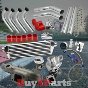 Chrome Intercooler Piping Red Couplers Turbo Kit For 1995 1999 Eclipse 420a 2 0l