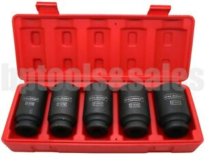 5pc 1 2 Drive Front Back Sae Wheel Spindle Axle Nut Deep Impact Socket Set