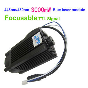 Focusable 445nm 450nm 3000mw 3w Blue Laser Module Ttl 12v Diy Cnc Engraving