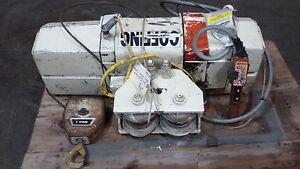 Coffing 1 Ton Electric Cable Hoist Model Unknown W Trolley And Pendant