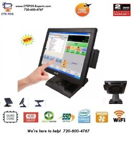 New Fast Quad Core Restaurant Retail Pos All In One Touch Screen System Aldelo