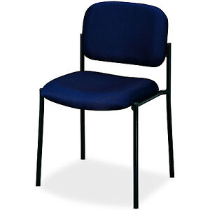 Stacking Guest Chair Reception Office Blue Padded Seat Back Armless Steel Frame