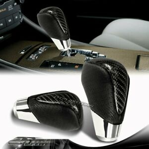 Real Carbon Fiber Pvc Leather Manual Mt Gear Stick Shift Shifter Knob Vip Style