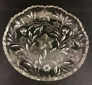 Antique Abp American Brilliant Period Etched Cut Glass Footed Shallow Bowl Dish