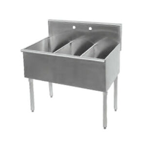 Three Compartment Commercial Sink 12 X 15 Each Not Nsf