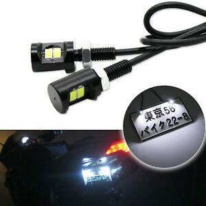 2x White 2 5730 Smd Bolt On Led License Plate Lights For Car Or Motorcycle Bike