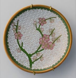 Antique Old Chinese Cloisonn Enamel Green With Pink Flowers Plate