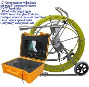 Sewer Drain System 10 Lcd 300 Ft Pipe 2 Inspection Camera Usb Meter Counter
