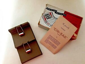Vintage Mcm Canasta Gin rak Card Holder Indoor outdoor Aluminium In Box Evc 1949