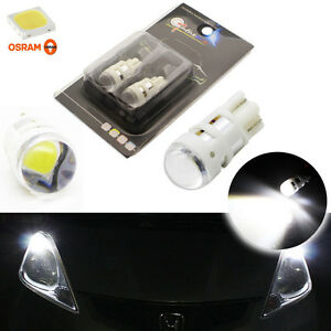 2x Cool White T10 W5w 2825 Led Bulbs For Parking City Lights Powered By Osram