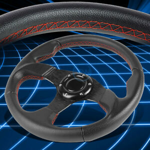 320mm Pvc Leather Black Spoke Red Stitches 6 Bolt Racing Steering Wheel W Horn
