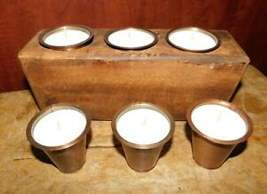 6 Replacement Sugar Mold Candle Holder Primitive Tin Cup Votives With Candles