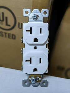 50 Pc New Standard Duplex Receptacles 20 Amp White 20a Commercial Grade Cr20