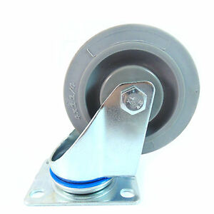 Swivel Plate Caster With 4 Non Marking Soft Gray Rubber Tpr Wheel ctpr4ss