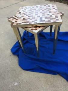 Mid Century Tile Covered Stacking Tables Coppery Trim Brass Legs
