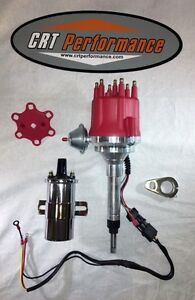 Small Cap Chevy Inline 6 Cylinder 194 235 Red Hei Distributor 45k Chrome Coil
