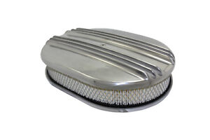 12 Classic Finned Polished Aluminum Oval Air Cleaner W Filter Chevy Ford V8
