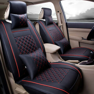 2pc Front Leather 5 saets Car Front Seat Covers Cushions All Seasons Black
