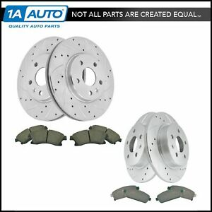 Performance Brake Rotor Drilled Slotted Coated Ceramic Pad Front Rear Kit
